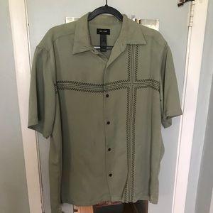 Access Sueded Buttondown ShortSlv Shirt, L